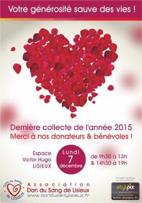 Affiche de la collecte de sang à Lisieux, 7 décembre 2015, par Stylpix