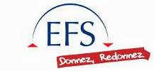logo de l'Etablissement Fran�ais du Sang avec le slogan donnez, redonnez