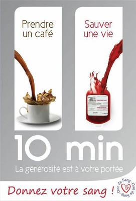affiche avec le slogan : 10 minutes, la g�©n�©rosit�© est � votre port�©e