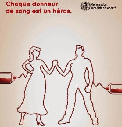 affiche de l'OMA avec comme slogan : chaque donneur de sang est un heros
