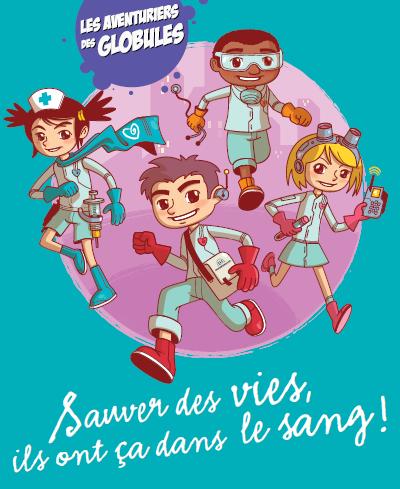 Aventuriers des globules pour le don de sang des enfants