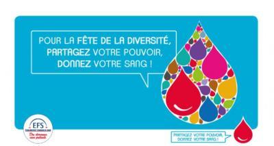 Affiche de la fête de la diversité pour le don de sang