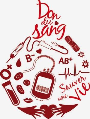 Logo pour le don de sang représantant une groutte avec groupage, poche et tubes