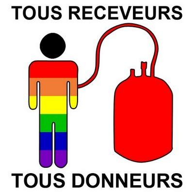 logo en faveur du don du sang des homosexuels : Tous receveurs, Tous donneurs